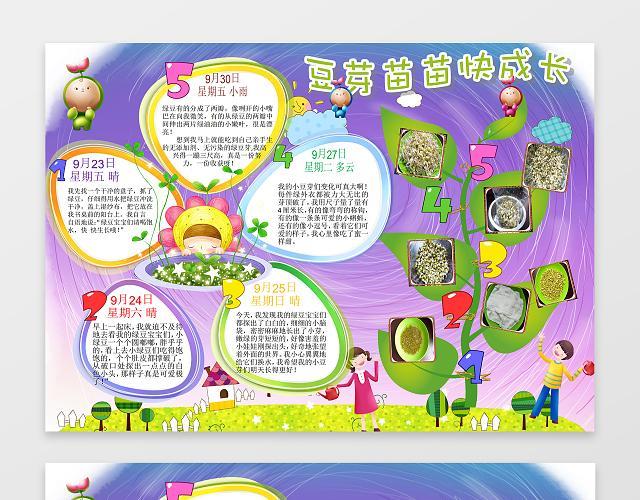 豆芽苗苗快成长幼儿园小报植物观察小报手抄报