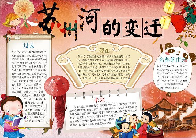 中国风古风水墨风格苏州河的变迁历史小报手抄报